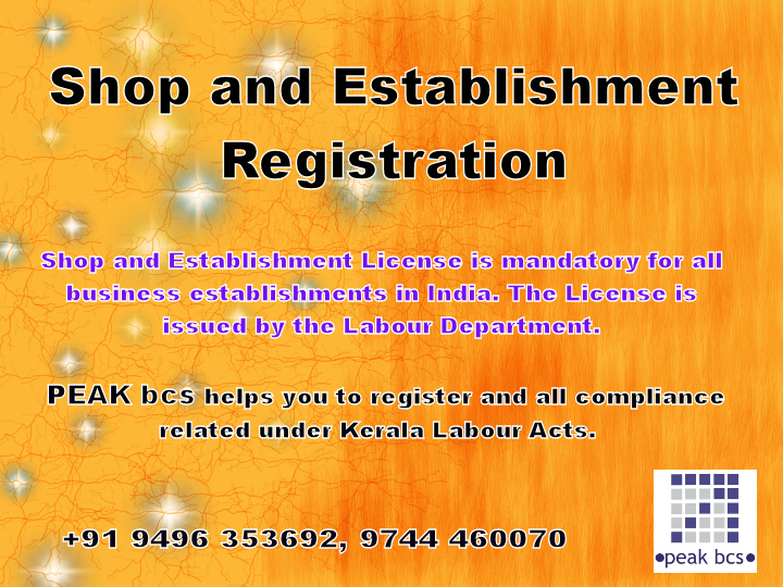 We are one of the leading service provider / consultant to assist the entrepreneurs to register under Kerala Shop and Establishment Registration. We provide this service to all over the entrepreneurs in Kerala.